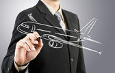 Business man draw plane transportation — Stock Photo