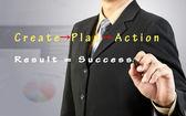 Biznesmen rysować sukces schemat — Zdjęcie stockowe