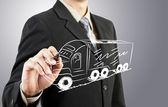 Zakenman trekken vrachtwagen vervoer — Stockfoto