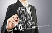 Business man draw forklift transportation — Stok fotoğraf