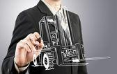 Business man trekken vorkheftruck vervoer — Stockfoto