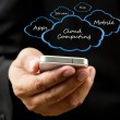 Businessman holding mobile phone Cloud computing concept — Foto Stock