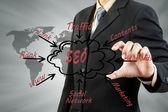 Uomo d'affari spingendo contenuto processo seo — Foto Stock