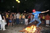 San Juan festival, jumping from the fire, Talavera, Spain — Stock Photo