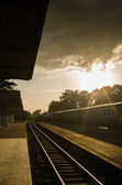Old train in the station — Stock Photo