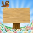 Bird on wooden sign background - Stock Vector