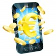 Euro money phone concept — Stock Vector
