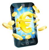 Euro money phone concept — Stock Vector