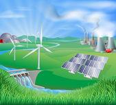 Metody generowania energii elektrycznej i zasilania — Wektor stockowy