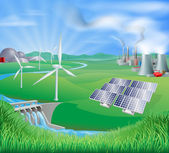 電力または電力の生成手法 — ストックベクタ