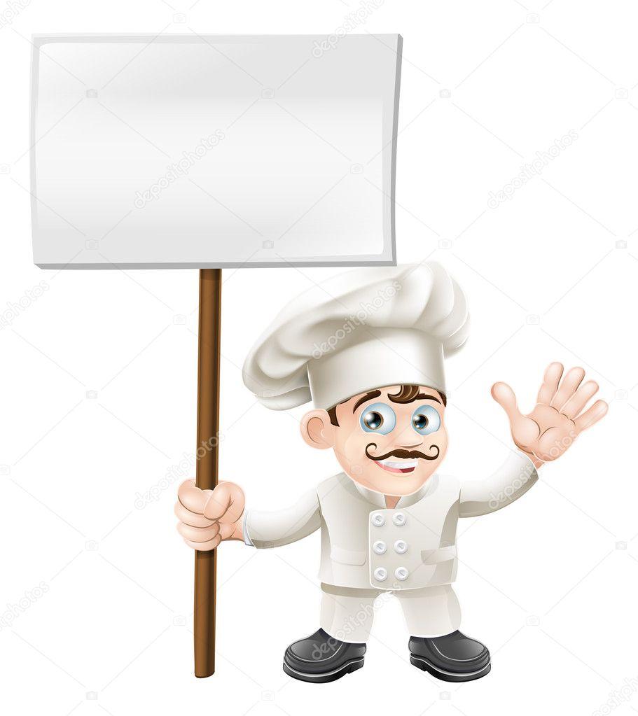 Chef agitando con cartel — Vector de stock © Krisdog #11068190