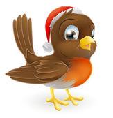 Robin bird in a Santa Hat — Stock Vector