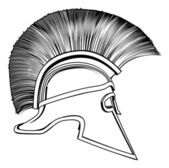 Black and White Ancient Greek Warrior Helmet — Stock Vector
