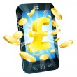 Stockvector : Pound money phone concept
