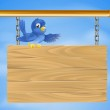 Blue bird on wooden sign — Stock Vector #11215285