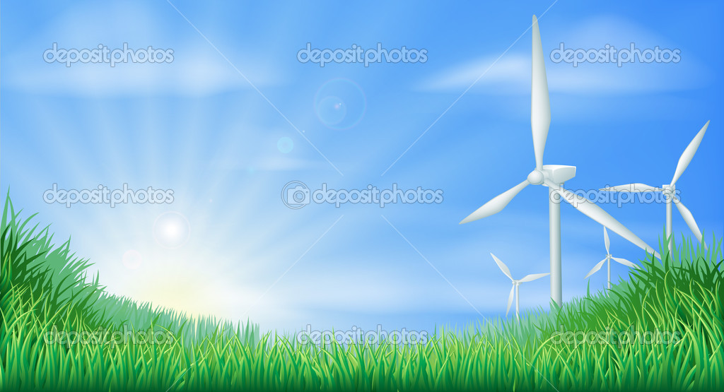 Illustration of wind turbines in green landscape for sustainable renewable energy power generation — Stock Vector #11261517