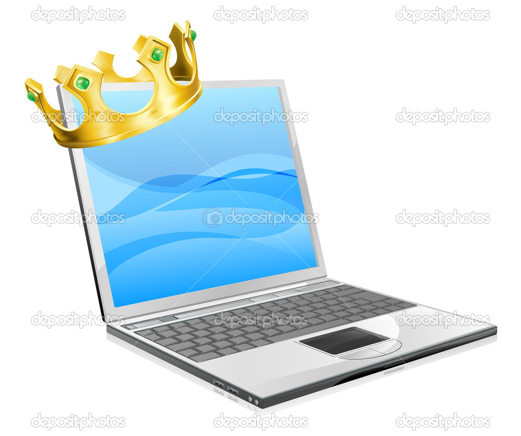 Laptop king concept illustration, a laptop computer wearing a crown — Stock Vector #11301718