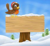 Christmas robin sign background — Stock Vector