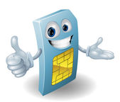 Cartoon mobile phone sim card man — Stock Vector