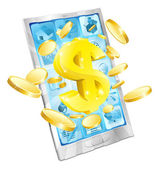 Dolar peníze telefon concept — Stock vektor