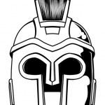 Monochrome Spartan helmet illustration — Stock Vector #11405585