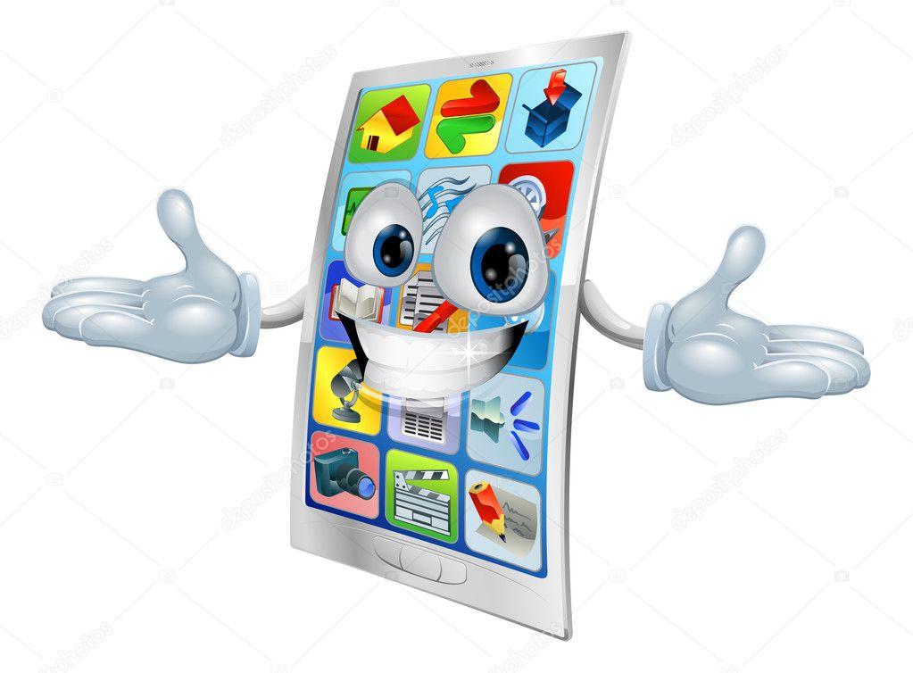 Dibujos Animados De La Mascota De Teléfono Celular