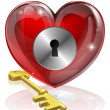 Heart lock and key — Stock Vector #11421780