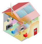 Green Energy House — Stockvector