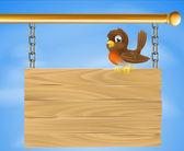 Bird on wood sign — Stock Vector