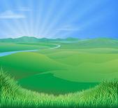 Rural landscape illustration — Stock Vector