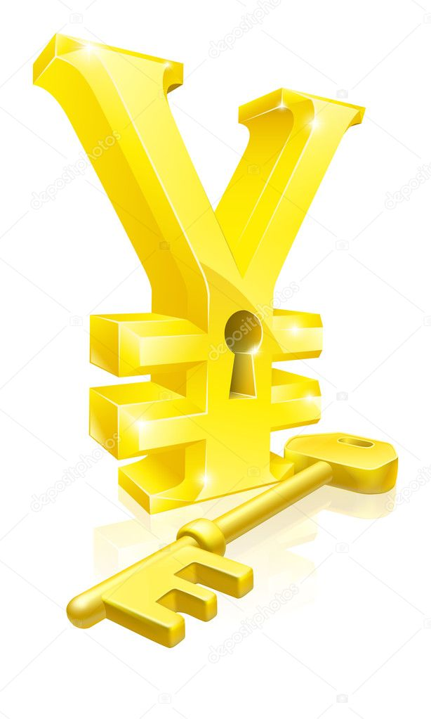 Conceptual illustration of a gold Yen sign and key. Concept for unlocking financial success or cash or for financial security. — Stock Vector #11501621