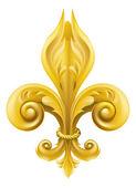 Desenho de flor de lis de ouro — Vetorial Stock