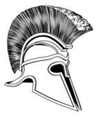 Black and White Trojan Helmet — Stock Vector