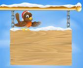 Christmas sign robin bird — Stock Vector