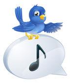 Bluebird musical note speech bubble — Stock Vector