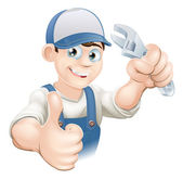 Thumbs up plumber with spanner — Stockvector