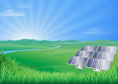 Solar panel landscape illustration — Vecteur