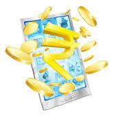 Rupee money phone concept — Stock Vector