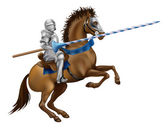 Jousting knight — Stock Vector