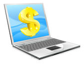Laptop dollar money concept — Stock Vector