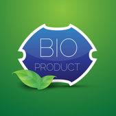 Blue Bio product shield button with green leaves — Stock Vector