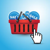 Shopping basket and sales — Stock Vector