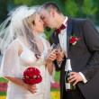 Young couple in love Celebration in garden — Stock Photo