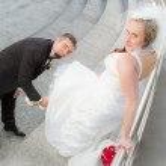The groom bride wears slipper — Stock Photo