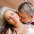 Close up of groom kissing the bride — Stock Photo