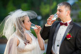 Champagne and a young couple — Stock fotografie