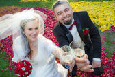 Bride and groom makes a toast with champagne — Photo
