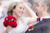 Happy young couple after the wedding ceremony — Stock Photo