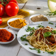 Close-up of hot spaghetti on a plate - Stock Photo