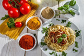 Fresh vegetables and spaghetti — Stock Photo